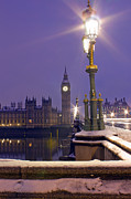 Y120817 Prints - Westminster Snowfall Print by Andrew Thomas