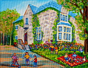Streetscenes Paintings - Westmount Birthday Party-montreal Urban Scene-little Girls Playing by Carole Spandau