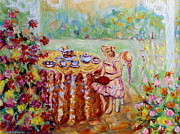 Portraits Paintings - Westmount Garden Montreal City Scene by Carole Spandau