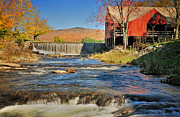 Vermont Fall Foliage Framed Prints - Weston Vermont - Grist Mill Framed Print by Thomas Schoeller