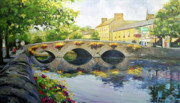 Old Houses Painting Posters - Westport Bridge County Mayo Poster by Conor McGuire