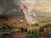 Covered Wagon Posters - Westward Ho Allegorical Female Figure Poster by Everett