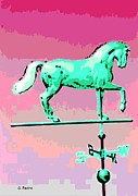 Weathervane Digital Art Prints - Westward Ho Print by George Pedro