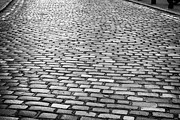 Overcast Day Photo Prints - Wet Cobblestoned Huntly Street In The Union Street Area Of Aberdeen Scotland Print by Joe Fox