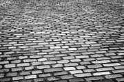 Overcast Day Photo Prints - Wet Cobblestoned Huntly Street In The Union Street Area Of Aberdeen Scotland Uk Print by Joe Fox
