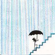 Umbrella Drawings Prints - Wet Feet Freak Out Print by Candace Fowler