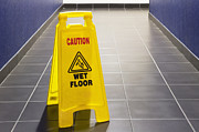 Flooring Framed Prints - Wet Floor Sign Framed Print by Andersen Ross