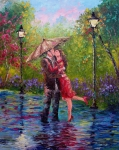 Umbrella Painting Framed Prints - Wet Kiss Framed Print by David G Paul