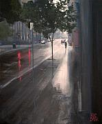 Rainy Street Painting Acrylic Prints - Wet Melbourne Acrylic Print by Mike Barr