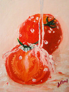 Vegetables Paintings - Wet Tomatoes by Joe Byrd