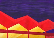 Landmarks Paintings - Wexler Folded Roof Five by Randall Weidner