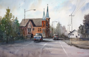 Car Painting Originals - Weyauwega Church by Ryan Radke