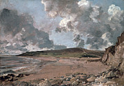 Furzy Cliff; Sand; Clouds; Cloud; Landscape; Rocky; Desolate; Barren; Romantic; Romanticism; Darkened; Storm; Stormy Prints - Weymouth Bay with Jordan Hill Print by John Constable