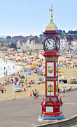 Large Clock Posters - Weymouth Sea Front Poster by John Snelling
