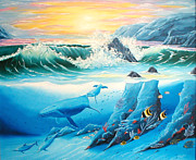 Randall Painting Originals - Whale and Dolphin Friends by Randall Brewer