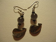 Grey Jewelry Metal Prints - Whale Around Earrings Metal Print by Jenna Green
