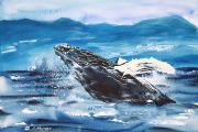 Spray Paintings - Whale Breaching by Tanya L Haynes - Printscapes