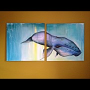 Surrealism Art - Whale For Sale 60x60 #painting #surreal by Sarah Schorlemer