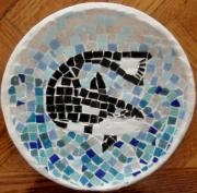 Ocean  Glass Art Originals - Whale by Jamie Frier