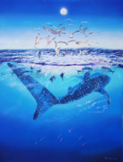 Southeast Asia Paintings - Whale shark morning by Jonathan Benitez