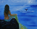Sitting On Rock Prints - Whale Watcher Print by Leslie Allen