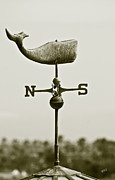 Sepia Toned Acrylic Prints - Whale Weathervane In Sepia by Ben and Raisa Gertsberg