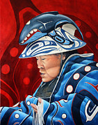 Red Cedar Painting Acrylic Prints - Whale Woman Acrylic Print by Joey Nash