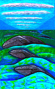 Canoe Drawings Metal Prints - Whales In Glacier Bay  Alaska Metal Print by Al Goldfarb
