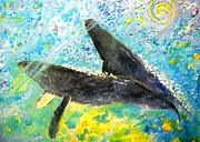 Liberation Paintings - Whales loving one another by Tamara Tavernier
