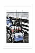 Old Man Fishing Framed Prints - Wharf Fisherman Framed Print by Frank Garciarubio