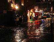 Whart Street In The Night Rain Print by Maria Varnalis