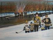Pond Hockey Painting Framed Prints - What A Riot Framed Print by Ron  Genest