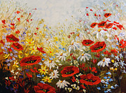 Poppies Field Paintings - What a Wonderful Day by Irena Sherstyuk