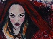 Red Riding Hood Paintings - What Big Eyes You Have by Khairzul MG
