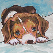 Beagle Paintings - What Did I Do by Sandy Tracey