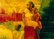 Steps Paintings - What is it Ma by Bayo Iribhogbe
