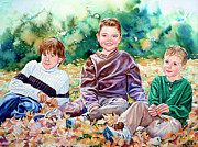 Children Playing Portrait Posters - What Leaf Fight Poster by Hanne Lore Koehler