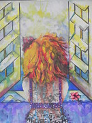 Coloful Mixed Media Metal Prints - What Lies Ahead Series  I Miss You 2  Metal Print by Chrisann Ellis
