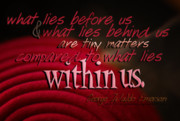Emerson Quote Prints - What Lies Within Us Print by Vicki Ferrari