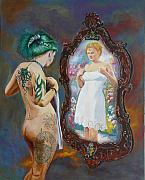 Nude Painting Metal Prints - What the world sees Metal Print by Tomas OMaoldomhnaigh