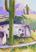 Cactus Paintings - Whats Left by Robert Hooper