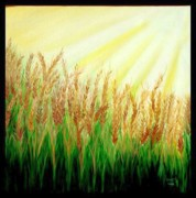 Usha Rai Art - Wheat Field by Usha Rai