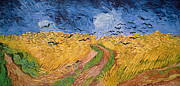 Landscape Tapestries Textiles Prints - Wheatfield with Crows Print by Vincent van Gogh