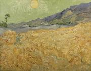 1889 Prints - Wheatfield with Reaper Print by Vincent Van Gogh