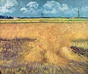 Fields Painting Posters - Wheatfield with Sheaves Poster by Vincent van Gogh