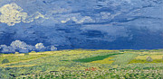 Brushstroke Prints - Wheatfields under Thunderclouds Print by Vincent Van Gogh