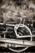 Sepia Metal Prints - Wheel and Steam Metal Print by Olivier Le Queinec