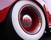 Classic Car Posters - Wheel Reflection Poster by Carol Milisen