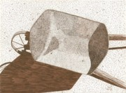 Sepia Ink Drawings - Wheelbarrow by Pat Price