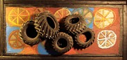 Mixed Media Sculpture Posters - Wheels Poster by Krista Ouellette